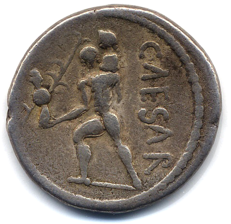 Caesar a historical overview the coins of julius caesar reverse aeneas left carrying palladium in right hand and anchises on left shoulder on right caesar downwards border of dots freerunsca Images